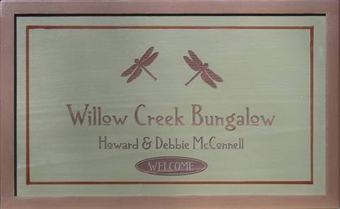Wooden Bungalow Sign to personalize.
