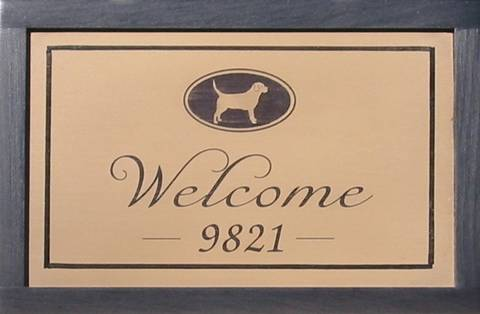 Welcome Wooden Sign featuring dogs